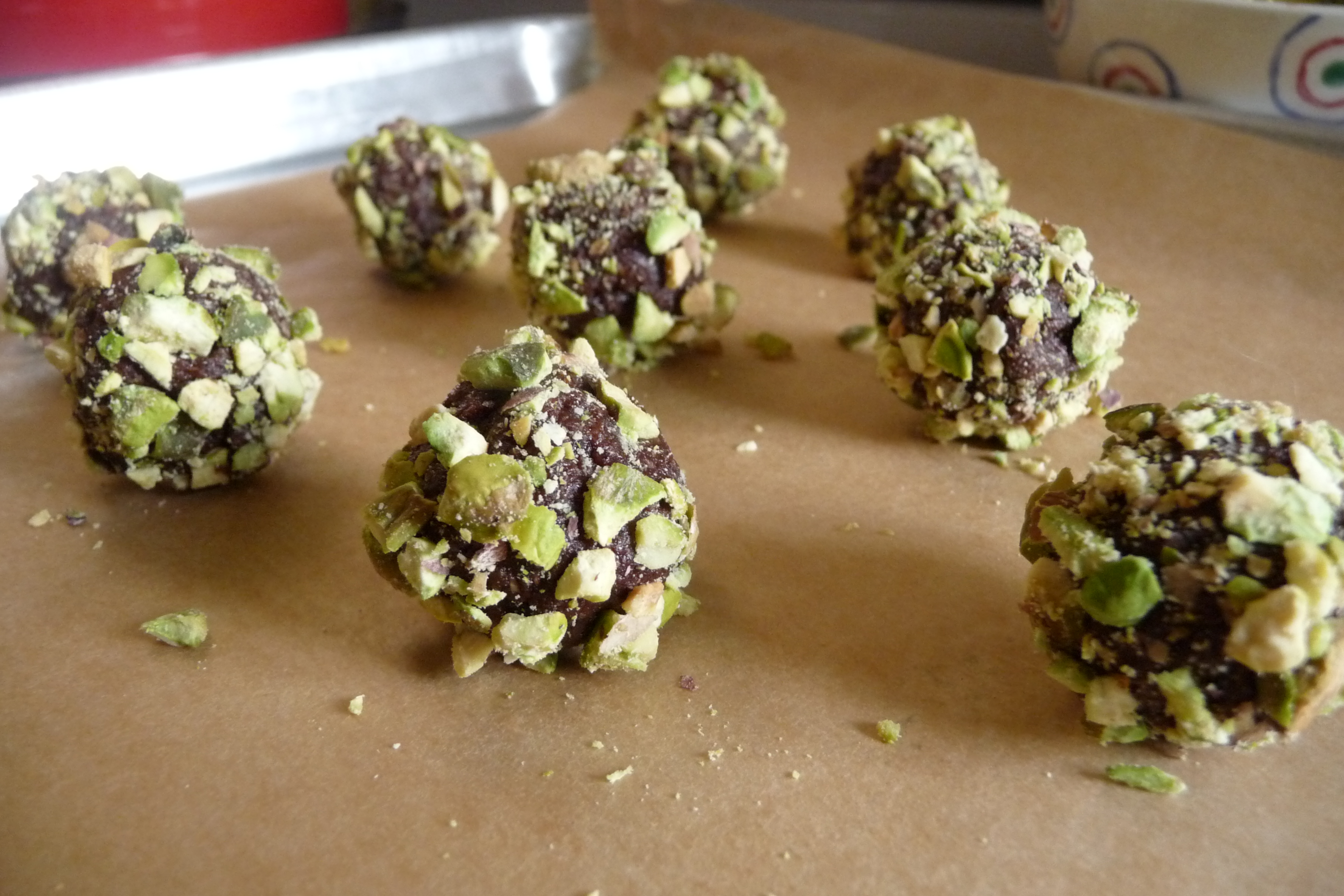 Cocoa-Date Truffles with Pistachios and Orange | Anything But Academia